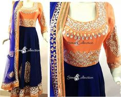 Orange/royal blue anarkali