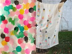 emily green's watercolors + appliqué your way diy garland sheers.  New curtains!