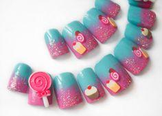 Cotton Candy Fake Nails, 3D Nails, Candy and Lollipops, Press on Nails, Kawaii Nail Art, Yummy Lolita False Nails, Acrylic Nails, 3D Nails