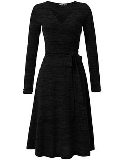 4fec2500bb JayJay Women Casual Caged Neck Long Sleeve Knit Sweater Faux Wrap Dress  With Bow Belt