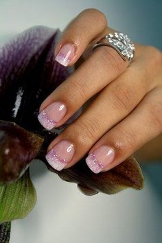 Pink glitter French manicure