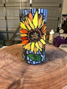 Sunflower mosaic vase