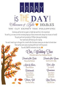Fall Wedding Program Rustic Wedding Program by MoreThanaMoment