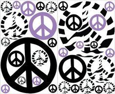 Mini Purple Zebra Print Peace Sign Wall Stickers / Decals by Presto Wall Decals, http://www.amazon.com/dp/B009W81OCO/ref=cm_sw_r_pi_dp_0uXXrb0DMWY4G