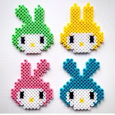Easter bunnies hama beads by plumkagen Melty Bead Patterns, Hama Beads Patterns, Beading Patterns, Hama Bead Boards, Perler Bead Art, Pearler Beads, Fuse Beads, Plastic Bead Crafts, Pearl Crafts