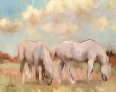 """""""Study in Grays"""" - 8"""" x 10"""" oil. Felt the need to paint two of my Percherons in a bit of an abstract manner yesterday. Artist Elaine Juska Joseph."""