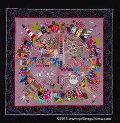 Round the Garden by Wendy Williams.  1st place applique - professional.  2015 Quilters' Guild NSW show (Sydney, Australia)