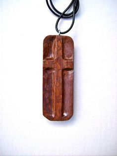 Wood Jewelry Wood Carved Cross Wood Carved Pendant by GatewayAlpha, $29.95