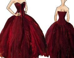 Red wedding dress. Alternative corset dress / prom. Sample