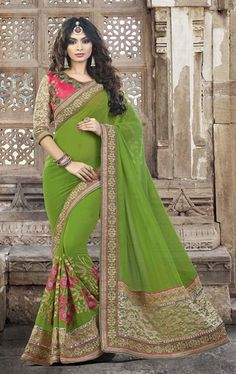 Picture of Tangerine Mehendi Green Online Designer Saree