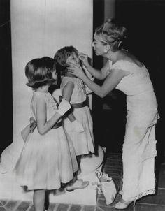 "Some kids visiting Joan Crawford on the set of ""Hush, Hush Sweet Charlotte"" (1964)"