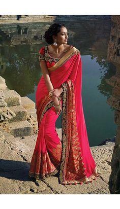 Red Silk Saree With Silk Blouse - DMV9335