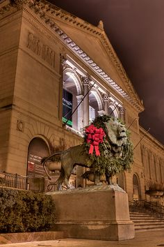 """The Art Institute of Chicago at Christmas - """"On The Prowl... For Presents"""" by bongarang, via Flickr"""