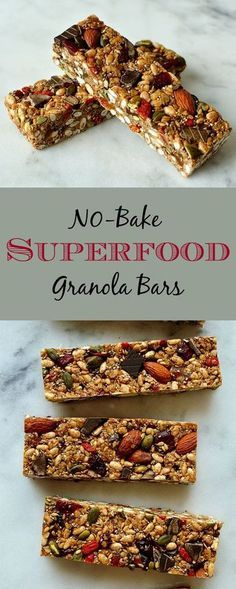 No-bake chewy granola bars packed full of superfood ingredients such as chia pumpkin & linseeds almonds goji berries oats coconut oil & dark chocolate. Healthy Granola Bars, Chewy Granola Bars, Healthy Bars, Healthy Treats, Healthy Baking, Eating Healthy, Chocolate Granola, No Bake Granola Bars, Chocolate Chips