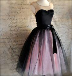 Party dress Black and pink tutu skirt for women. Ballet glamour. Retro look tulle skirt.. $145.00, via Etsy.