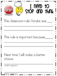 Stop and Think Sheet
