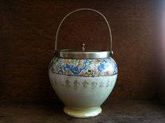 Antique English Biscuit Cookie Barrel Jar with Paisley Pattern and Handle Storage Lidded circa 1910's / English Shop