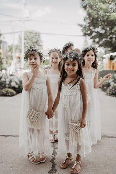 Boho Summer Golf Course Wedding at Montcalm Golf Club Flower Girl Dresses Boho, Boho Dress, Flower Girls, Forest Wedding, Dream Wedding, Wedding Stuff, Boho Wedding Dress, Wedding Dresses, Boho Wedding Decorations