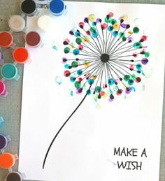 Blow and make a wish! Today's spring idea is the thumbprint dandelion craft w/free printable template. It can be made in minutes and is relatively inexpensive. Mothers Day Crafts For Kids, Mothers Day Cards, Diy For Kids, Diy Birthday Gifts For Him, Birthday Cards, Toddler Crafts, Preschool Crafts, Diy And Crafts, Arts And Crafts