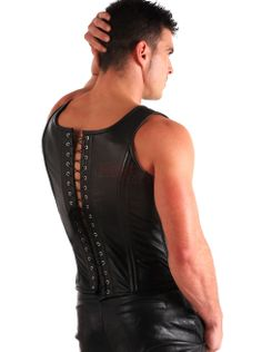 Man in Corset | Leather Men's Corset Top - Men's Leather - Leather Clothing