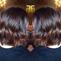 Chocolate red balayage lob done by @ashleymichelleartistry