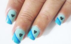 Blue heart nail art design...be awesome to do when the time is closer to Benjamin being here.