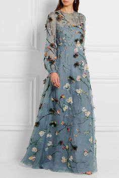 Dusty-blue silk-organza Concealed hook and zip fastening at back silk; polyamide Dry clean Made in Italy Modest Dresses, Nice Dresses, Prom Dresses, Indian Wedding Gowns, Vogue, Silk Organza, Beautiful Gowns, Couture Fashion, Pretty Outfits