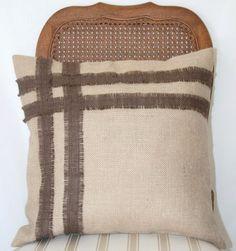 SALE Burlap pillow case with stripe design 18x18 by livycreation, $29.00