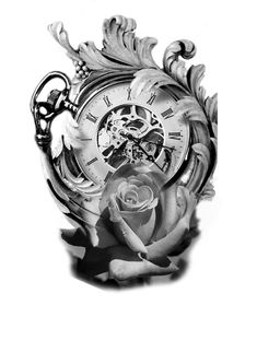 Forearm Tattoos, Body Art Tattoos, Sleeve Tattoos, Tattoo Sketches, Tattoo Drawings, Tattoo Studio, Realistic Animal Drawings, Rose Clock, Flower Tat