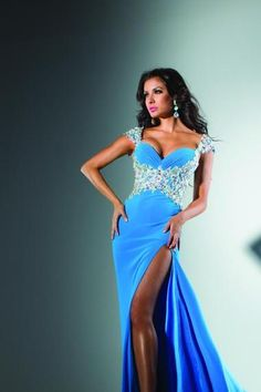 Pretty Prom Dresses 2013 Blue Sheath Column V Neck Chiffon Floor Length online shop affordable for fashion