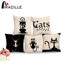 Cheap cushion crochet, Buy Quality pillow leather directly from China pillow kit Suppliers: Miracille Square Cotton Linen Black Climbing Cat Animals Printed Decorative Throw Pillows Home Decor Cushion For Sofas No Core Printed Cushions, Decorative Cushions, Cushions On Sofa, Animal Cushions, Cat Themed Gifts, Cat Cushion, Cushion Pillow, Cotton Pillow, Cotton Linen