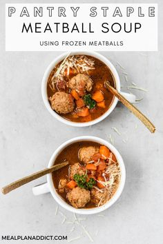 Easy to Make Meatball Soup Using Frozen Meatballs by Meal Plan Addict. Pantry staple meatball soup uses up pantry items, and frozen meatballs to make a savory, hearty stovetop soup for dinner, lunches, or even to load up your freezer stash! Find more Easy Recipes at www.mealplanaddict.com #mealplanaddict #easyrecipes Beef Soup Recipes, Meatball Recipes, Easy Recipes, Slow Cooker Soup, Slow Cooker Recipes, Meatball Soup, Small Pasta, Quick Meals, Freezer Meals