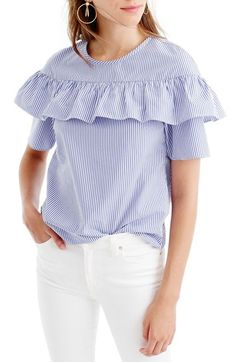 crew 'edie' Ruffle Top In Blue Stripe Frilly Shirt, Ruffle Shirt, Ruffle Top, Ruffles, J Crew Style, Fashion Catalogue, Looks Chic, Professional Attire, Tomboy Fashion