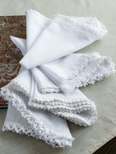 White lace.Crochet wedding handkerchief.Pocket square by WorthWondering Very thin lace accessory. In fact, it's possible to use this handmade handkerchief in different ways! - small wedding gift or elegant men's suit accessory - exclusive pocket square - table decor for delicate shabby chic interiors Absolutely handmade with love. Possible to creat in your favorite color. Variety of crochet borders patterns. Color: White Size: 30cm*30cm = 12in*12in Material: Cotton yarn, batiste fabric