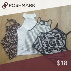 Lot of Forever 21 fitted crop tops I've combined these to save on shipping. You may purchase them separately, if you like, just ask! Size s & m, but purchased according to fit. Cute, sexy basics every girl needs in her closet! Rarely worn! Forever 21 Tops Crop Tops