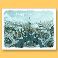 wintertown postcard snowyedge with text by frank_glerum_art