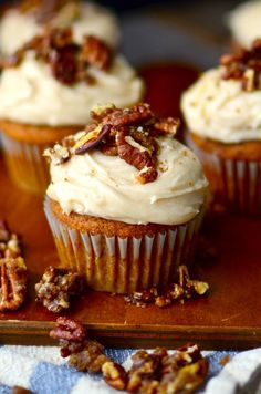 Pumpkin Cupcakes with Browned Butter Cream Cheese Frosting and Sugared Pecans Recipe | Yammie's Noshery