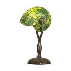 Diva At Home Antique Verde Green Nautilus Hand Crafted Glass Tiffany-Style Small Table Lamp Tiffany Green, Tiffany Table Lamps, Lamp Sets, Living Room Lighting, Bedroom Lighting, Small Tables, Nautilus, Light Table, Just In Case