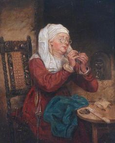 Woman Threading a Needle  by unknown artist  ....I think I look like this trying to thread a needle.