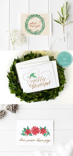 'Tis the season for hand lettered Christmas cards! Each design comes in a boxed set of 10 cards with matching envelopes.