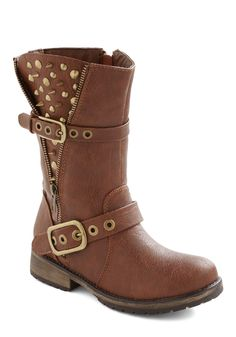 Open Spike Night Boot - Tan, Solid, Buckles, Exposed zipper, Studs, Low, Faux Leather, Statement, Urban, Top Rated