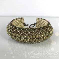 Puffy Bracelet Beading tutorial, Beading tutorials and patterns, Flat Chenille Bracelet beading pattern, chartreuse bracelet