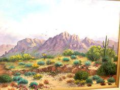 Desert Scenery barnwood frame by PaintingsbyCharlene on Etsy, $275.00