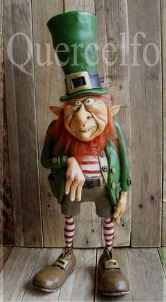 I like the style of this Leprechaun! It is from Hob Bonhubbold on the  Quercelfo site. Florence Italy There are great imaginative critters abs creatures there! https://www.facebook.com/hob.bonhubbold