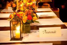 Wedding decor / orange flower / lantern