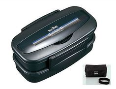 Black 2 Tier Bento Lunch Box Men Food Container Lunchbox with Lunch Bag BPA Free