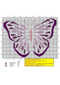 Violet 2 Blackwork Embroidery, Cross Stitch Charts, Butterfly, Tapestry, Crochet, Crafts, Cross Stitching, Free, Crossstitch