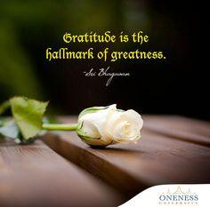 Gratitude is the hallmark of greatness. -Sri Bhagavan