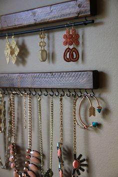 Jewelry Display - Jewelry Tree - Mounted Jewelry Display - Jewelry Organizer - Wooden Home Decor - Functional Decor - Wood Jewelry Organizer - If youve ever had a problem with jewelry storage, necklace storage, earring storage–this set of 3 - Bracelet Organizer, Diy Organizer, Jewelry Organization, Organization Ideas, Necklace Storage, Jewellery Storage, Jewellery Display, Jewelry Dish, Bracelet Storage