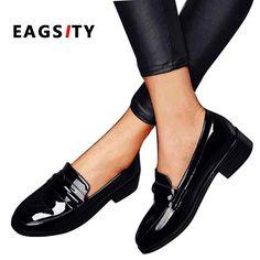 719475087db07 AIGREUR En Cuir Verni Penny Mocassins chaussures pour femmes Appartements  glissent sur bout Carré robe pour